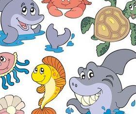 Cute Marine Inhabitants vector