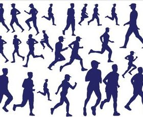 Silhouettes Runners Illustration vector
