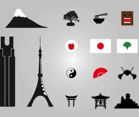 Japanese Icons Illustration vector