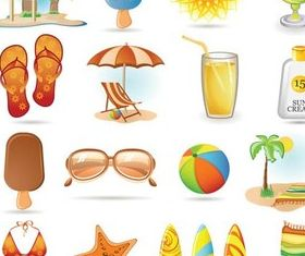 Beach Objects free vector design