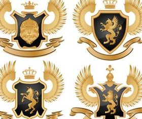 Gold Royal Emblems vector