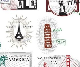 Different City Stamps vector