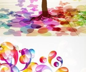 Colorful fantasy creative background set vector
