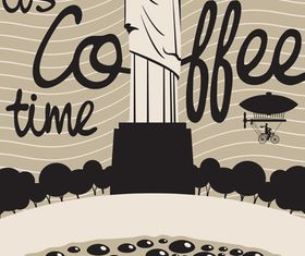 coffee and building background 5 set vector