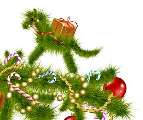 Pine needles horse christmas elements vector