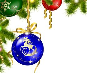 Christmas ball horse background vector