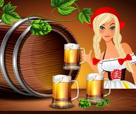 Beer and girl vector