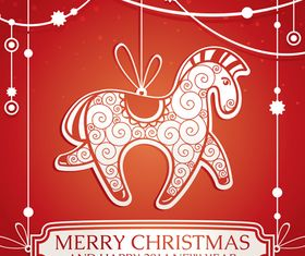 Christmas horse background vector