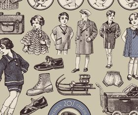 Vintage elements 1 vector graphics