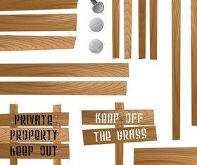 Different Wooden Elements vector