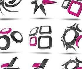 Dark Abstract Logotypes design vector