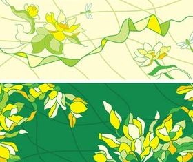 Light Green Floral Banners vector