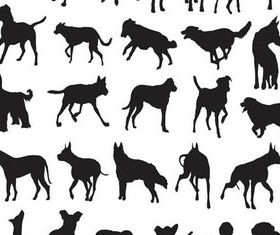 Silhouettes Dogs set vector