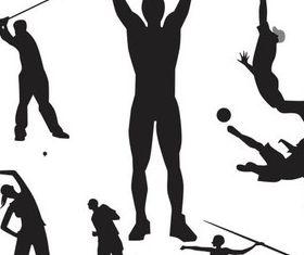 Silhouettes Sportsmen vectors material