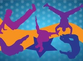 Breakdancing Silhouettes shiny vector