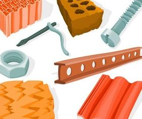 Different Building Materials vector graphics