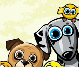 Cartoon dog and bird 1 vector