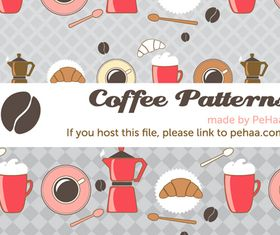 Coffee pattern set vector