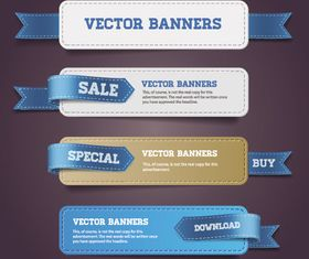 Leather banner ribbons vector