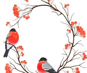 Christmas bird background 2 vector