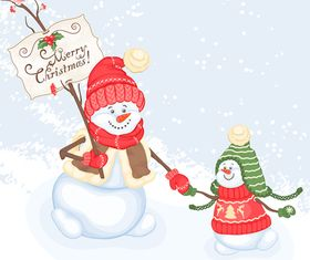 Cute snowman and christmas 1 vector