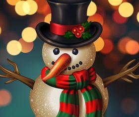 Funny christmas snowman vector
