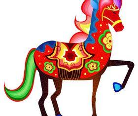 Colored floral horse vector