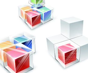 Colored 3D Cube background vector