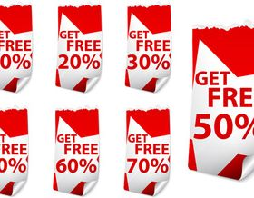 Red Discount stickers 1 vector