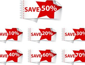 Red Discount stickers 2 vector