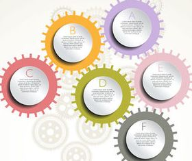Gearwheel and number background 4 shiny vector