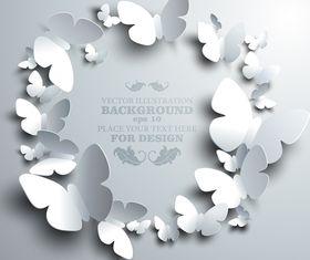 Paper butterflies background 1 vector