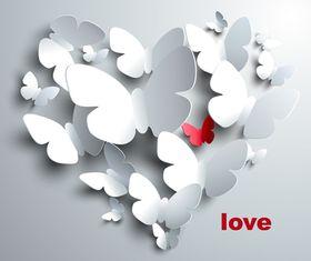 Paper butterflies background 2 vector