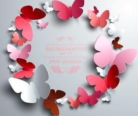 Paper butterflies background 4 vector