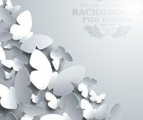 Paper butterflies background 5 vector