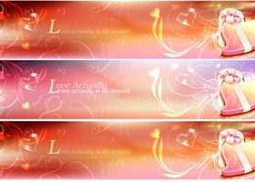 Romantic Valentine heart banner Illustration vector