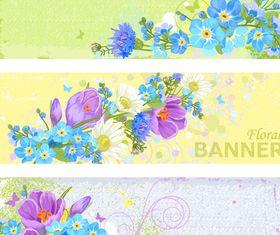Floral grunge banner vector material