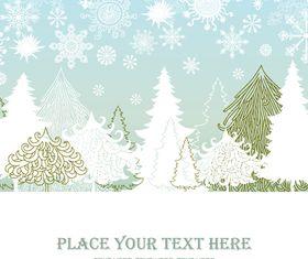 Winter hand drawn background vector set