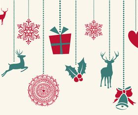 Cute christmas background elements 4 vector