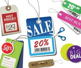 Various Shopping Stickers vector