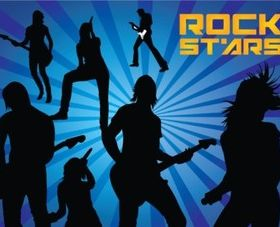 Rock Stars Silhouettes vectors