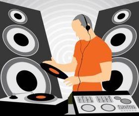 DJ at Work set vector
