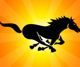 Black Running Horse vector