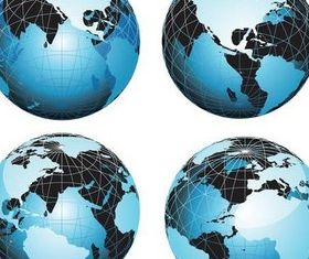 Blue Modern Globes art vector