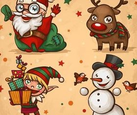Christmas Cartoon Elements design vectors