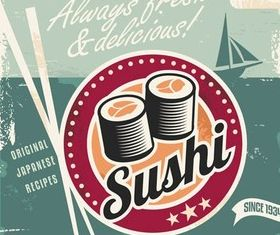 Sushi Backgrounds shiny vector