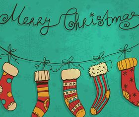 Christmas Stocking Greeting Cards vector