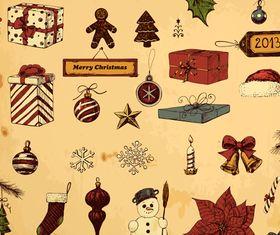 Vintage Christmas Gift elements set vector