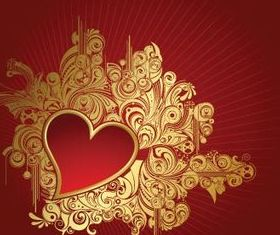 Heart golden floral background vectors