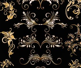 Golden floral ornaments 1 creative vector